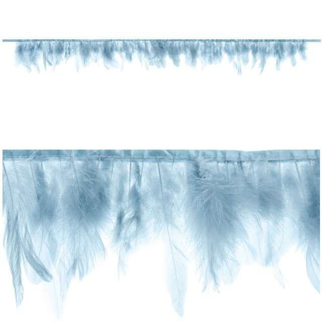 """Girlanda """"Pióra"""", jasny mglisty niebieski, PartyDeco, 1m"""