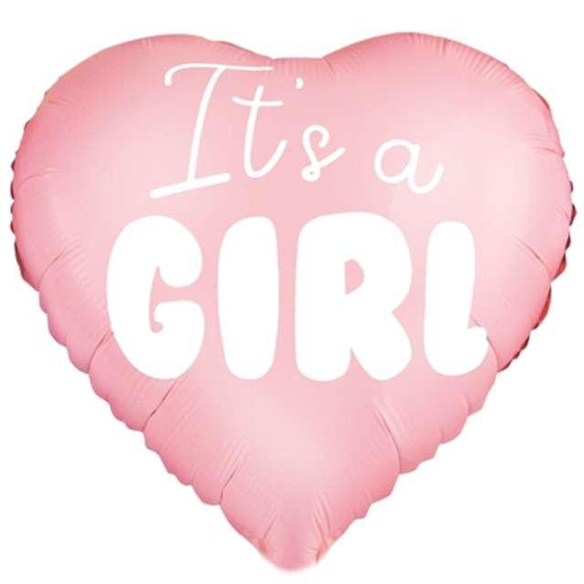 "Balon foliowy ""Serce - Its a girl"", różowo jasny, 18"""