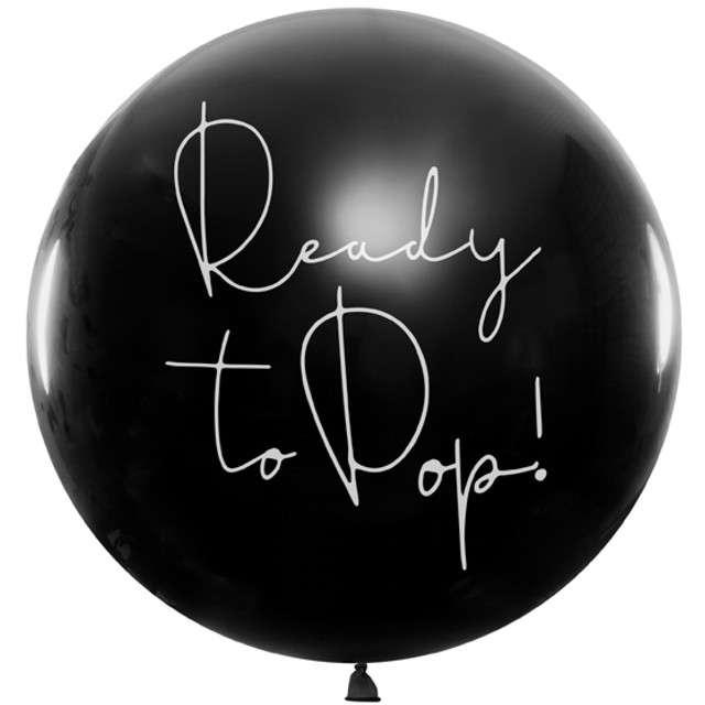 """Balon """"Gender Reval - Dziewczynka"""", czarny, 1m, PartyDeco"""