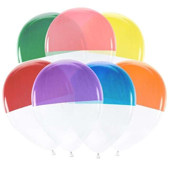 """Balony """"Dwukolorowe"""", transparentne, PartyDeco, 12"""", 7 szt."""