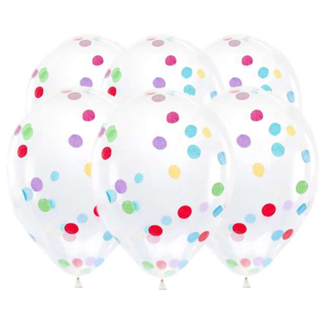 """Balony z konfetti """"Classic"""", mix, PartyDeco, 12"""", 6 szt."""
