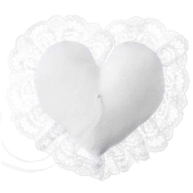 """Poduszka pod obrączki """"Serce z koronką"""", biała, PartyDeco, 13x13 cm"""