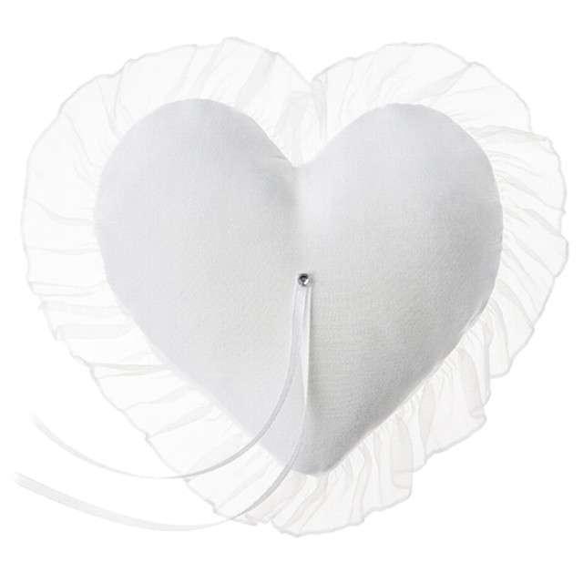 """Poduszka pod obrączki """"Serce"""", biała, PartyDeco, 13x13 cm"""