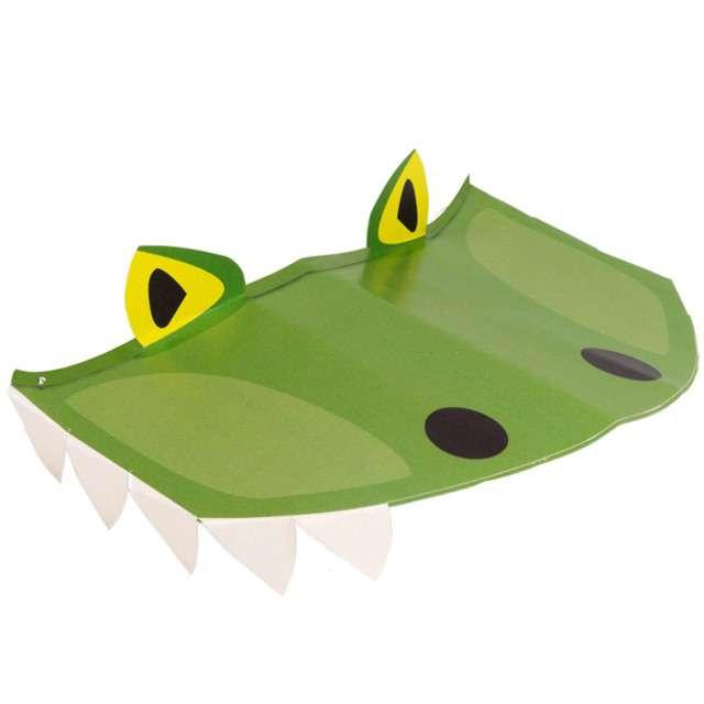 """Czapeczki papierowe """"Happy Dinosaur"""", zielony, AMSCAN, 17 cm, 8 szt"""