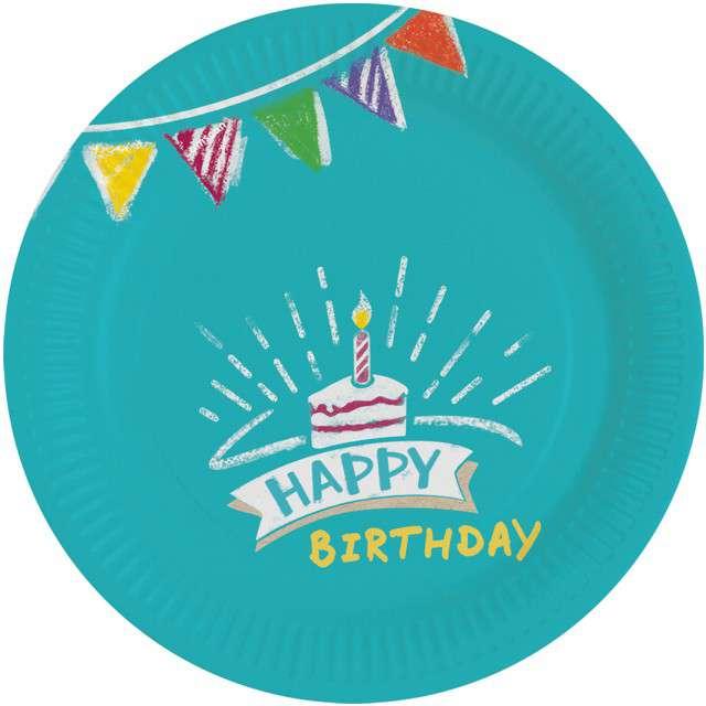 """Talerzyki papierowe """"My Birthday Party"""", AMSCAN, 18 cm, 8 szt"""