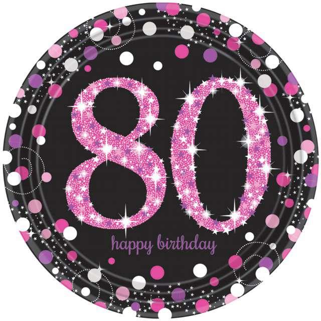"""Talerzyki papierowe """"80 Urodziny - Sparkling Celebrations Pink"""", AMSCAN, 23 cm, 8 szt"""