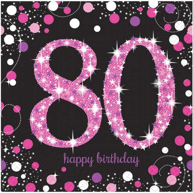 """Serwetki """"80 Urodziny - Sparkling Celebrations Pink"""", AMSCAN, 33 cm, 16 szt"""