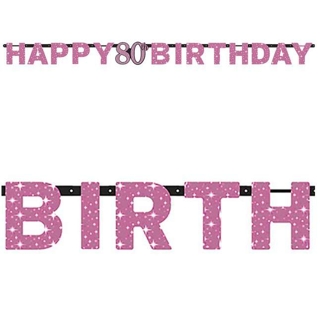 "Baner ""80 Urodziny - Sparkling Celebrations Pink"", AMSCAN, 213 cm"