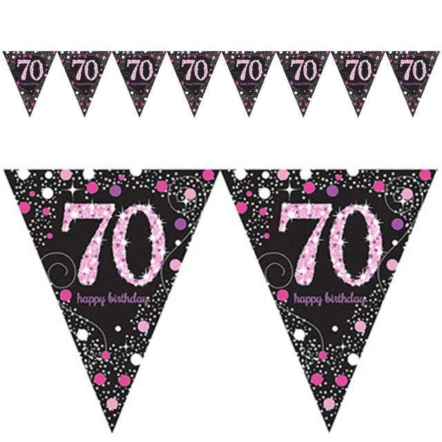 "Baner flagi ""70 Urodziny - Sparkling Celebrations Pink"", AMSCAN, 400 cm"