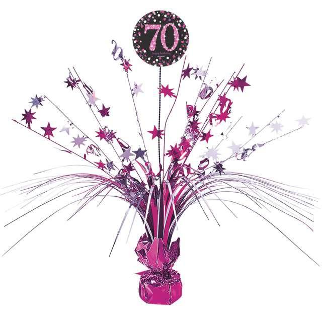 """Obciążnik do balonów """"Bukiet 70 urodziny"""", AMSCAN, różowy, 250 g"""