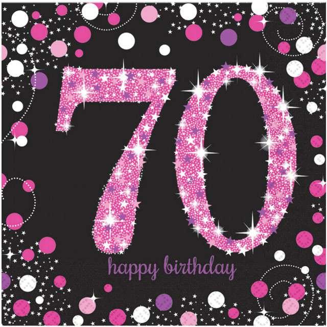 """Serwetki """"70 Urodziny - Sparkling Celebrations Pink"""", AMSCAN, 33 cm, 16 szt"""
