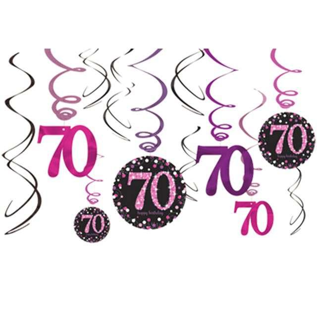 """Świderki wiszące """"Urodziny 70"""", Pink Celebration, AMSCAN, 12 szt"""