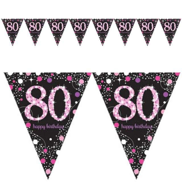 "Baner flagi ""80 Urodziny - Sparkling Celebrations Pink"", AMSCAN, 400 cm"