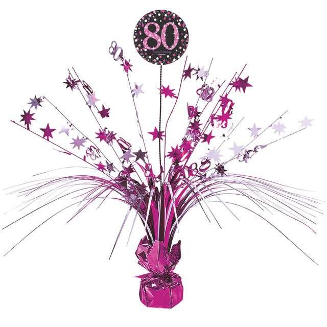 """Obciążnik do balonów """"Bukiet 80 urodziny"""", AMSCAN, różowy, 250 g"""