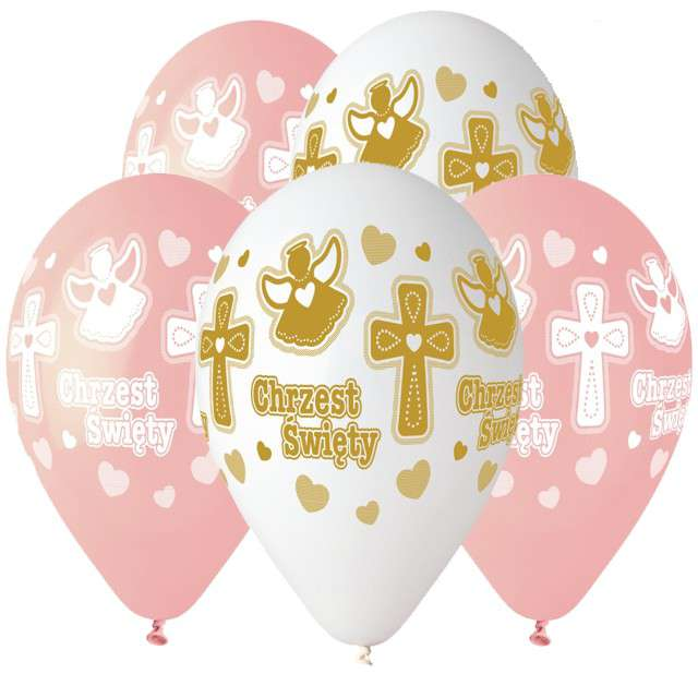 """Balony """"Chrzest Dziewczynki"""", mix, Gemar, 13"""", 5 szt"""