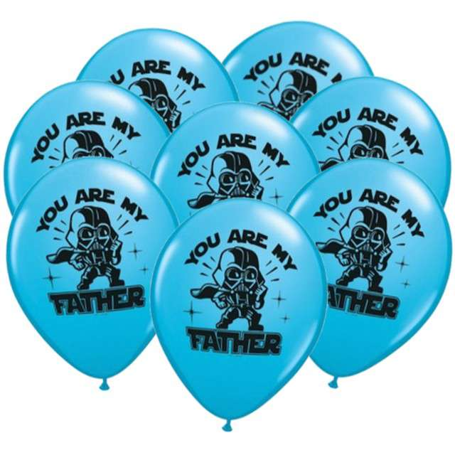 "Balony ""Star Wars - You are my father"", błękitny, Qualatex, 11"", 25 szt"