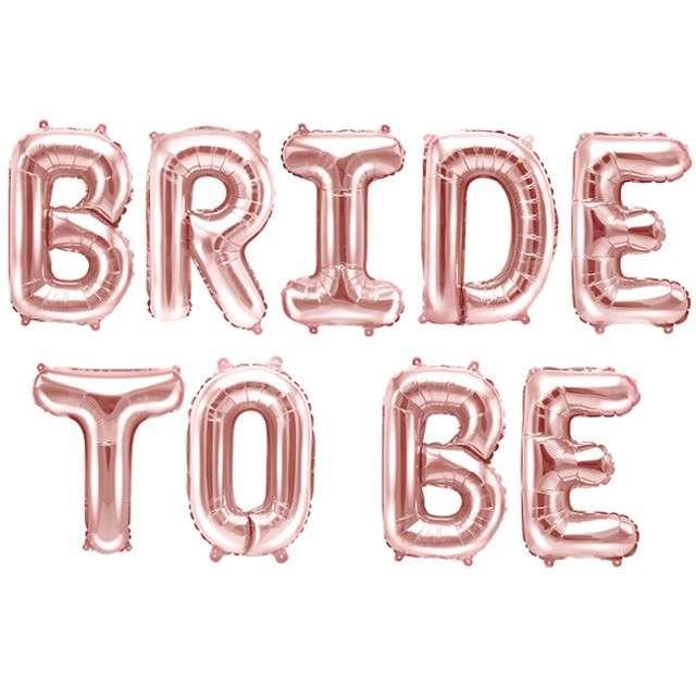 """Balon foliowy """"Bride to be"""", różowe złoto, PartyDeco, 14"""" SHP"""