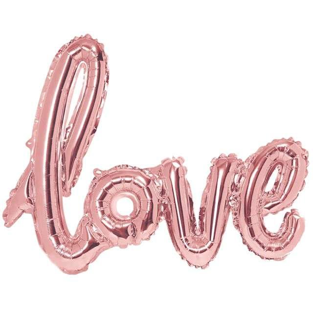 """Balon foliowy """"Love"""", różowe złoto, PartyDeco, 28"""" SHP"""