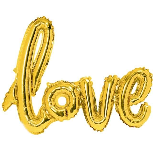 """Balon foliowy """"Love"""", złoty, PartyDeco, 28"""" SHP"""