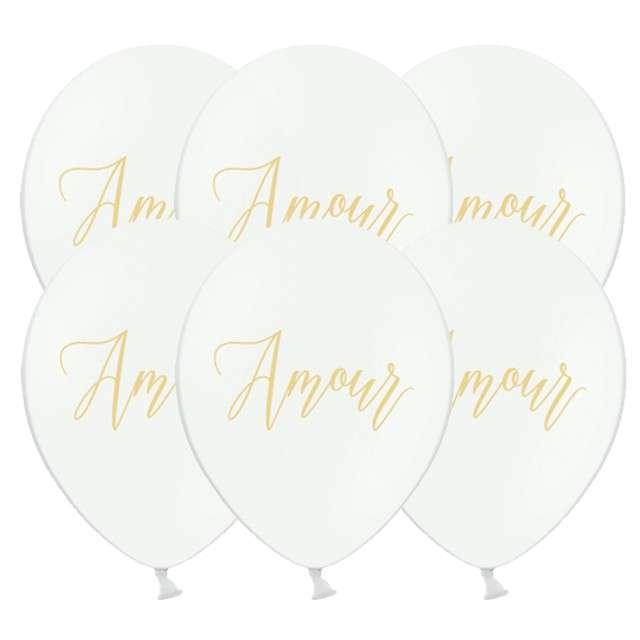 "Balony ""Amour"", pastel białe, 12"", STRONG, 6 szt"