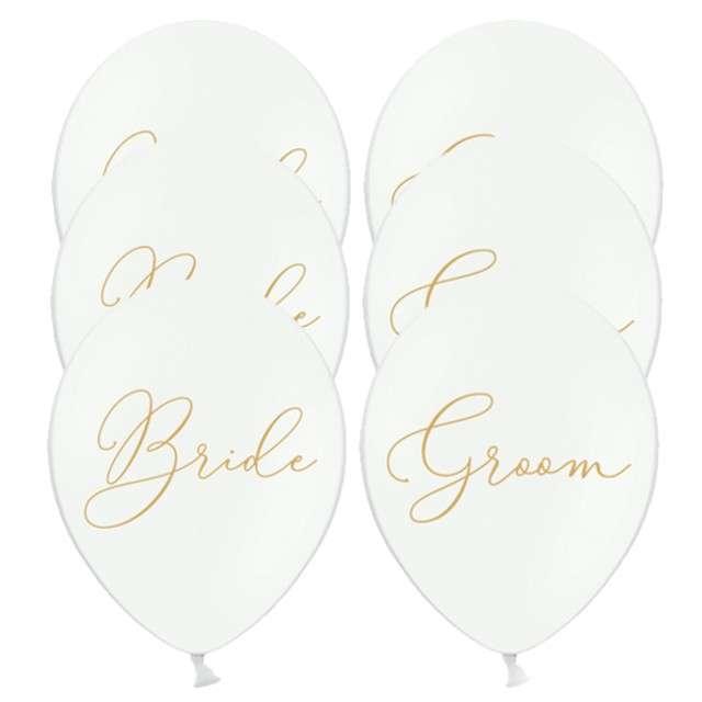 "Balony ""Bride,Groom"", pastel białe, 12"", STRONG, 6 szt"