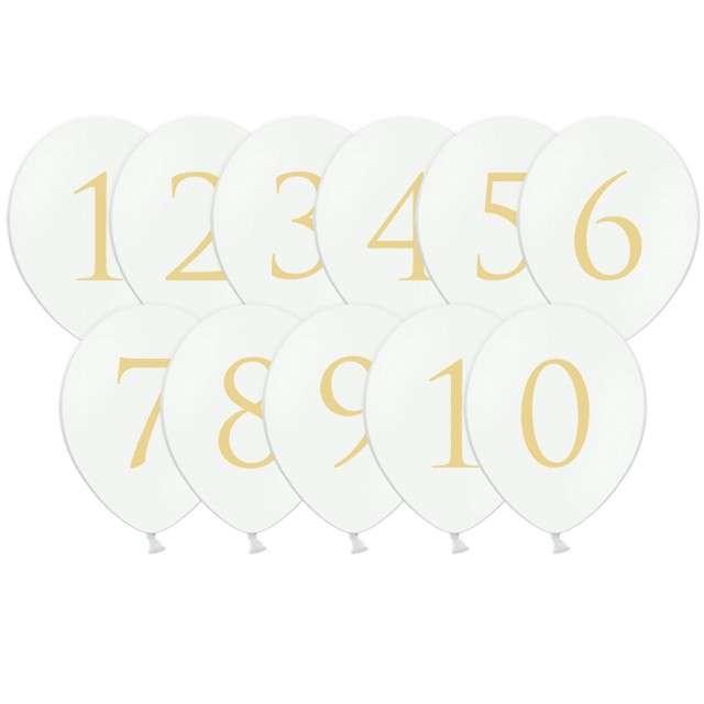 "Balony ""Cyfry mix"", pastel białe, 12"", STRONG, 11 szt"