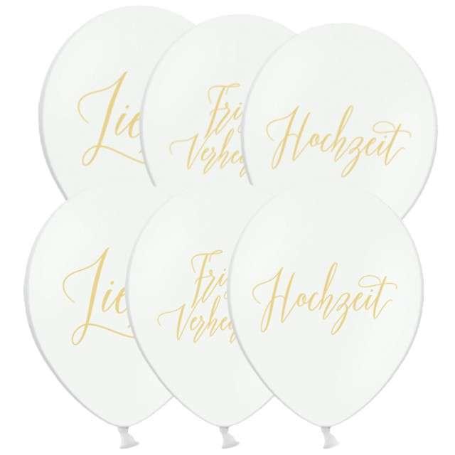 """Balony """"Frisch verheiratet, Hochzeit, Liebe"""", pastel białe, 12"""", STRONG, 6 szt"""