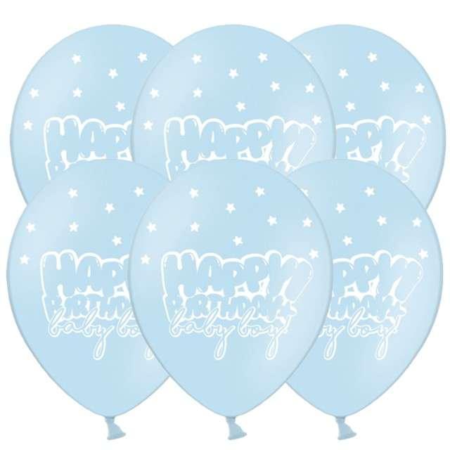 """Balony """"Happy Birthday - Baby boy"""", pastel niebieski, 12"""", STRONG, 6 szt"""