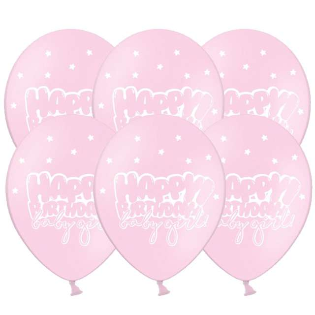 "Balony ""Happy Birthday - Baby girl"", pastel różowy, 12"", STRONG, 6 szt"