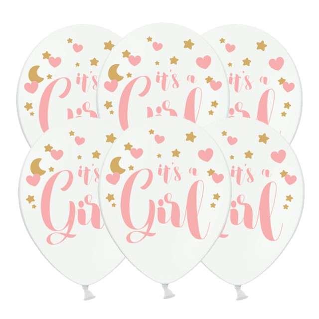 """Balony """"Its a Girl"""", pastel biały, 12"""", STRONG, 6 szt"""