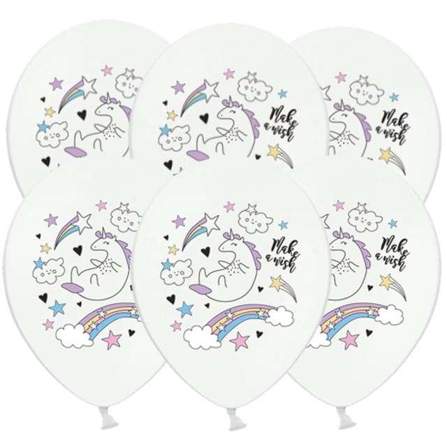 """Balony """"Jednorożec"""", pastel biały, 12"""", STRONG, 6 szt"""