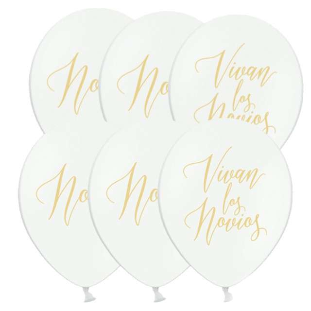 """Balony """"Novio, Novia, Vivan los Novios"""", pastel białe, 12"""", STRONG, 6 szt"""
