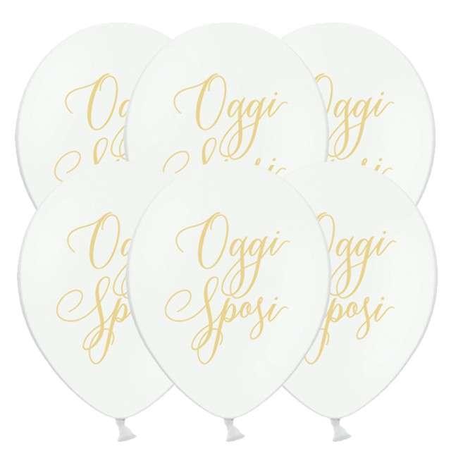 """Balony """"Oggi Sposi - Nowożeńcy"""", pastel białe, 12"""" STRONG,  6 szt"""