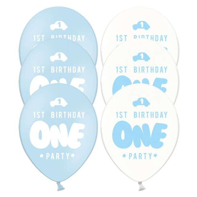 "Balony ""One - Baby blue"", mix, 12"", STRONG, 6 szt"