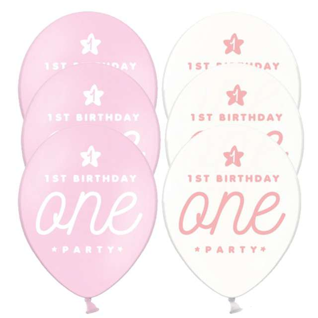 "Balony ""One - Baby Pink"", mix, 12"", STRONG, 6 szt"