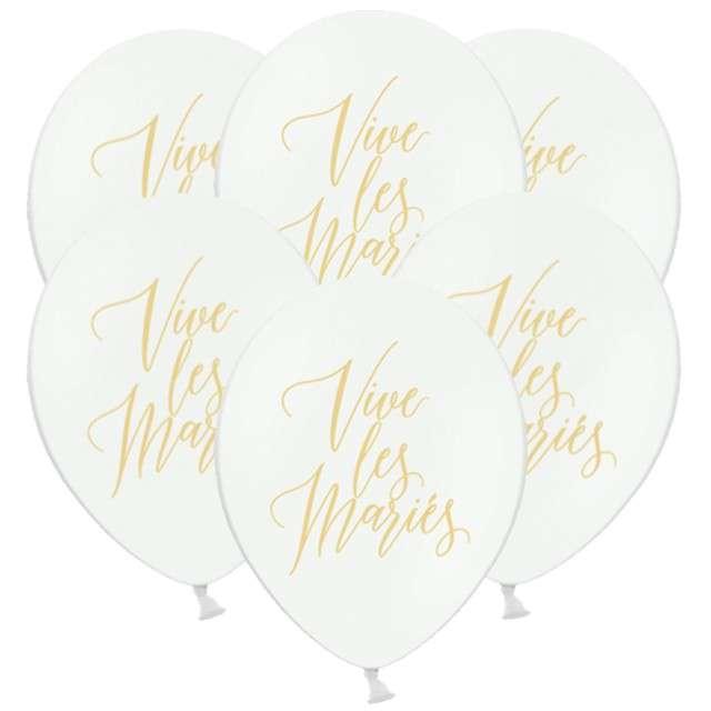 "Balony  ""Vive les Maries"", pastel białe, 12"", STRONG, 6 szt"