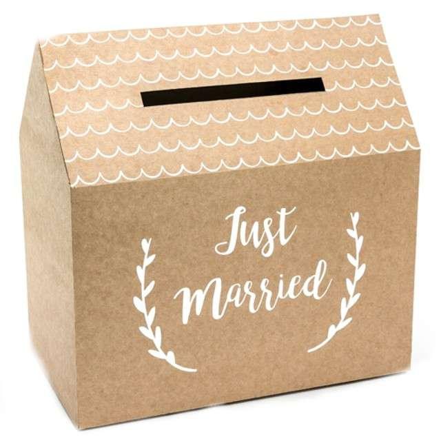 """Pudełko na telegramy """"Just Married"""", Party Deco, kraft, 30x30 cm"""