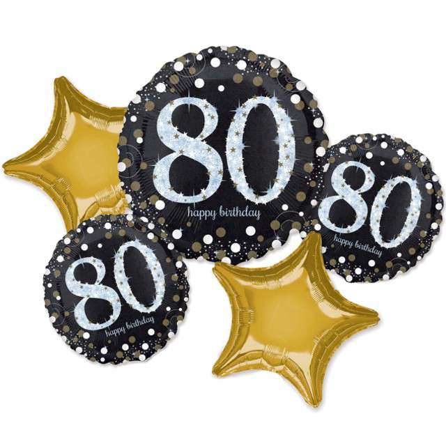 """Balon foliowy """"80 Urodziny - Sparkling Celebration"""", AMSCAN, zestaw"""