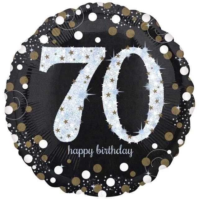 "Balon foliowy ""Urodziny 70 - Jumbo Sparkling Celebrations Gold"", AMSCAN, 28"" CIR"