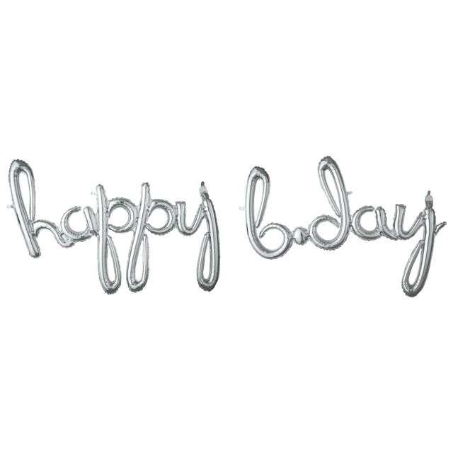 "Balon foliowy ""Happy Bday"", srebrny, AMSCAN, 39"" SHP"