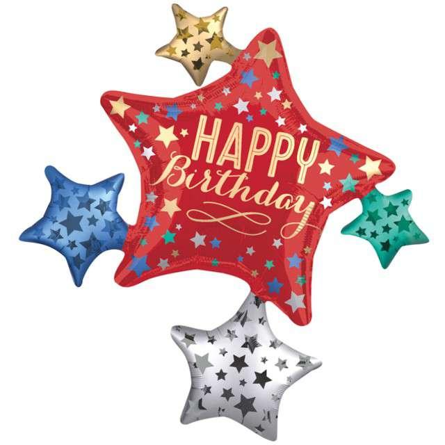 """Balon foliowy """"Urodzinowe Gwiazdy"""", AMSCAN, 34"""" SHP"""