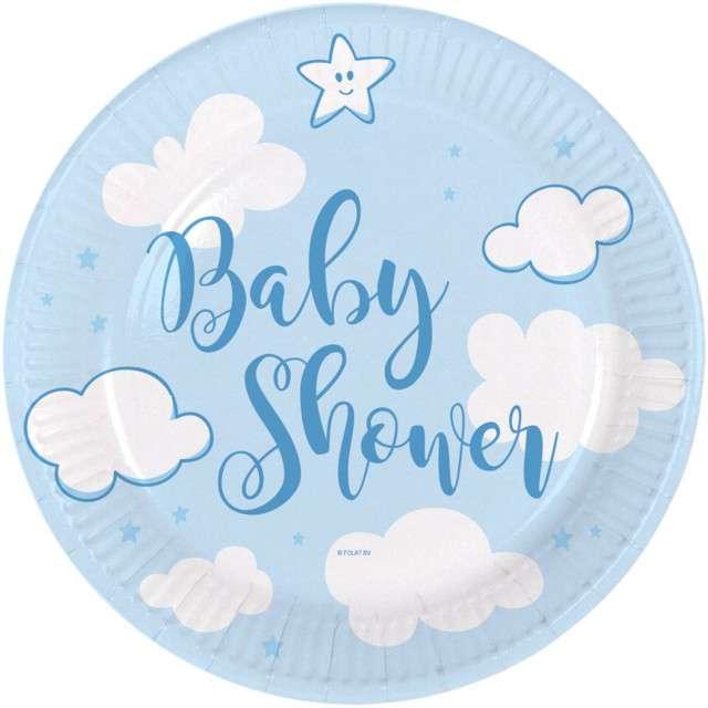 """Talerzyki papierowe """"Baby shower- Boy"""", błękitne, FOLAT, 18 cm, 8 szt"""