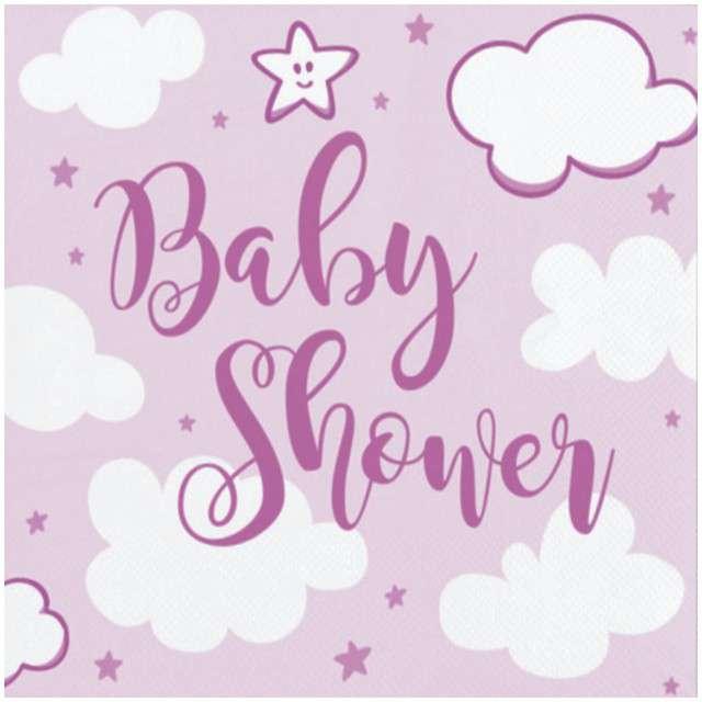 """Serwetki """"Baby shower - Girl"""", różowe, 25 cm, 20 szt"""