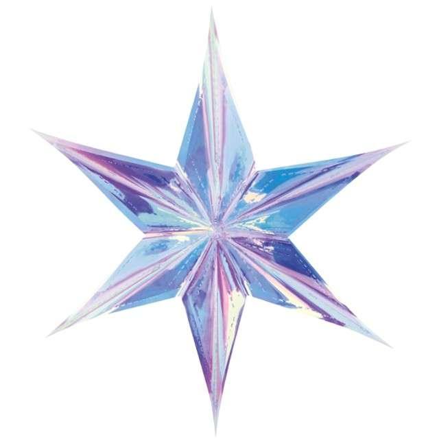 Dekoracja Gwiazda 3D foliowa PartyDeco opalizująca 40cm