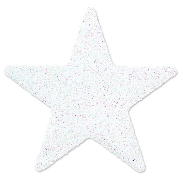 """Dekoracja brokatowa """"Gwiazdka"""", biała, 5 cm, 8 szt"""