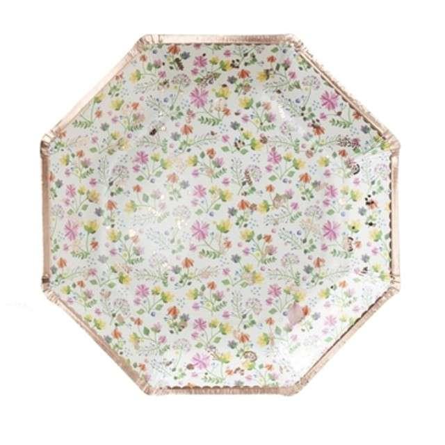 """Talerzyki papierowe """"Ditsy Floral"""", mix, Ginger Ray, 23 cm, 8 szt"""