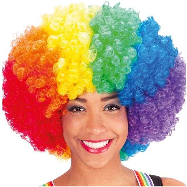 "Peruka party ""Tęczowe Afro"", kolorowa, Carnival Toys"