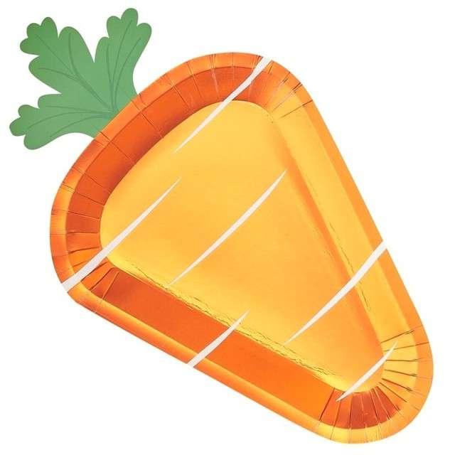 """Talerzyki papierowe """"Marchewka - Carrot Crunch"""", Ginger Ray, 35 cm, 8 szt"""