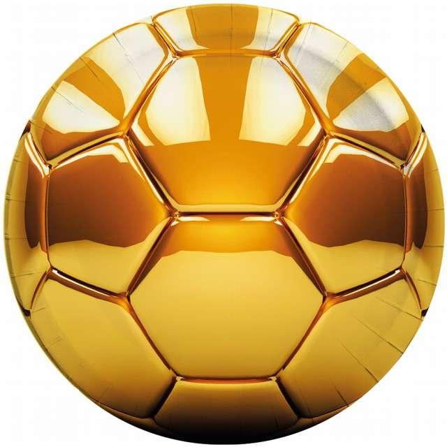 """Talerzyki papierowe """"Football Gold"""", PROCOS, 23 cm, 8 szt"""
