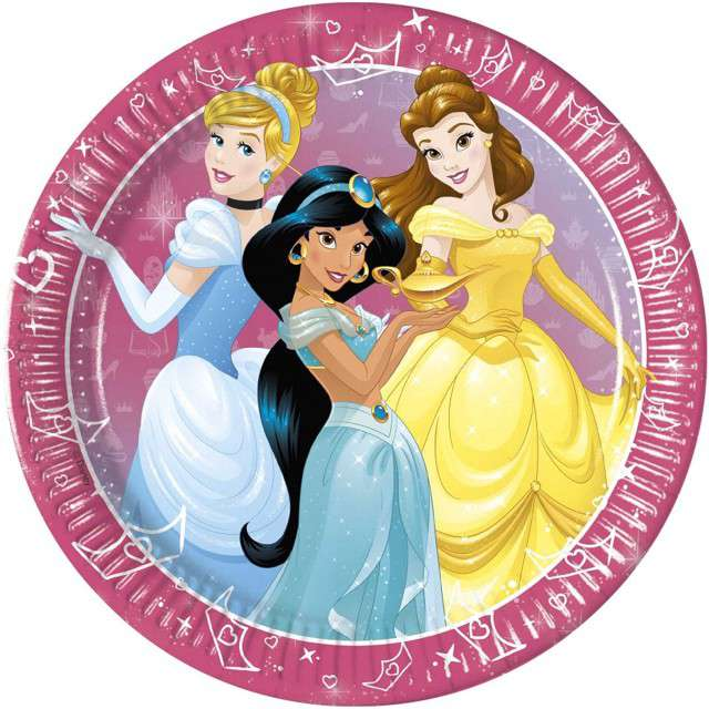 """Talerzyki papierowe """"Disney Princess - Day Dream"""", PROCOS, 23 cm, 8 szt"""